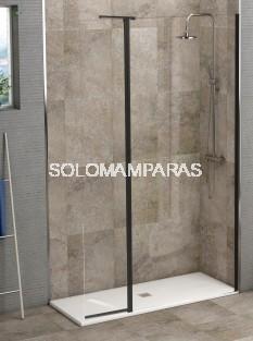 Mampara de ducha Antibes (fija + abatible sin cierre) 8mm, perfil negro