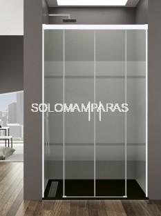 Mampara de ducha Basic Spazio -GME- (2 fijas + 2 correderas) antical y perfilería blanca