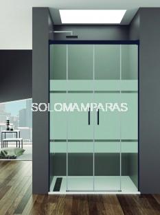 Mampara de ducha Basic Spazio -GME- (2 fijas + 2 correderas) antical y perfilería negra