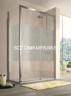 Mampara Kassandra 400 (CU607+CU602+CU103) (1 fija + 1 corredera) + 1 lateral fijo, serigrafia Clio (Antical Easy Clean)