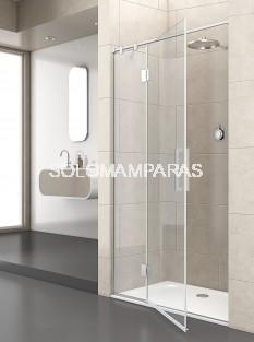 Mampara de ducha Junior articulada -Deyban- (fijo + abatible) 8 mm (antical y acero)