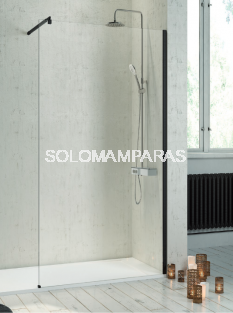 Fijo de ducha mampara Fresh -Kassandra- (FR643) 8 mm y perfilería negra (antical)