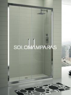 Mampara KASSANDRA - TR100 - SERIE 300 - transparente, Frontal 2 fijas + 2 correderas con Antical Easy Clean