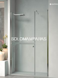 Mampara frontal de ducha Medellín (fijo + 2 hojas seccionadas abatibles)