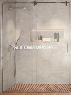 Mampara de ducha Slim -Kassandra- (1 fija + 1 corredera) 8 mm y acero inox (antical)