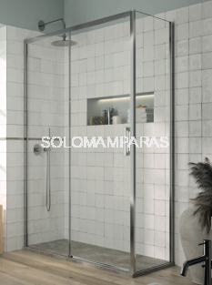 Mampara de ducha - Kassandra- Yoko (1 fija + 1 corredera + 1 lateral fijo) 6 mm (antical)