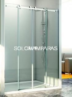 Mampara de ducha Loira -Hidroglass- (2 fijas + 2 correderas) 8 mm acero inox.