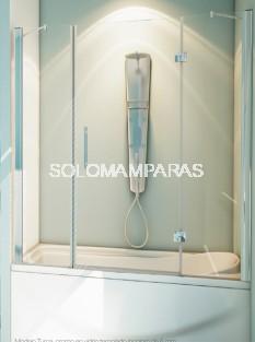 Mampara frontal de bañera Turca -Hidroglass- (2 fijos frontales + 1 puerta abatible) 6 mm