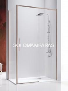 Mampara de ducha -Kassandra- Masela (MS102 + MS103) (1 fija + 1 corredera + 1 lateral fijo) 8 mm con perfileria oro rosa (antical)