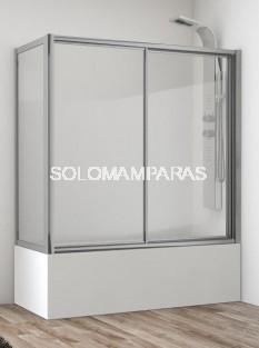 Mampara de bañera Ova (1 fija + 1 corredera + lateral fijo) en vidrio templado y acrílico