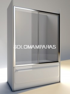 Mampara de bañera Volga  (1 fija + 1 corredera) Perfil plata / vidrio transparente
