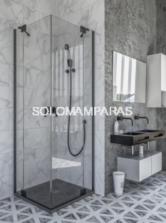Mampara de ducha Brunei (Doccia Black Collection) angular 2 fijos + 2 abatibles