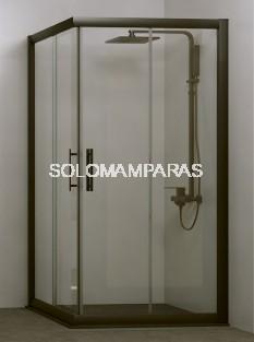 Angular de ducha Azores (2 fijas + 2 correderas) 6 mm con perfileria negra