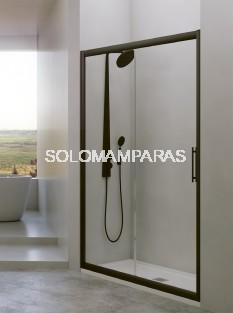 Mampara de ducha Esla 1 fija + 1 corredera de 6mm con perfileria negra con Lateral fijo Opcional