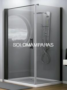 Mampara frontal de ducha Maya (1 puerta abatible + 1 lateral fijo) 6 mm con perfileria negra
