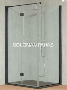 Mampara de ducha plegable Tarim (2 plegables) + 1 lateral fijo 6 mm con perfileria negra