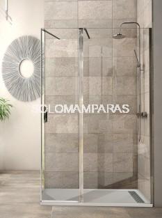 Mampara de ducha Antibes (fija + abatible + lateral fijo) 8mm, perfil cromo