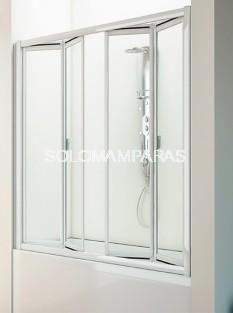 Mampara de bañera Nilo (4 hojas plegables) en vidrio y acrílico