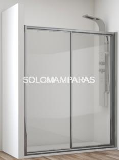 Mampara de ducha Cares  (1 fija + 1 corredera) vidrio templado