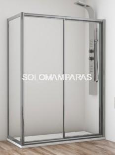Mampara de ducha Cares  (1 fija + 1 corredera) + lateral fijo, en vidrio templado y acrílico