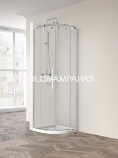 Mampara de ducha curva Vetro 260 -Profiltek- (2 fijas + 2 correderas) 6 mm