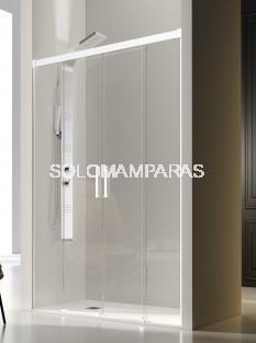 Mampara de ducha frontal -Kassandra- Glase (GS100) (2 fijas + 2 correderas) con perfileria blanca (antical Easy Clean)