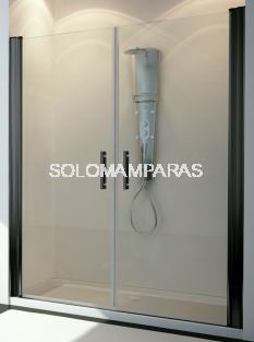 Mampara de ducha Ebano 2 hojas abatibles, 6 mm con perfileria negra