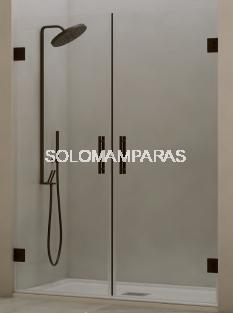 Mampara de ducha Yuruá 2 hojas abatibles, 6 mm y 8 mm con perfileria negra