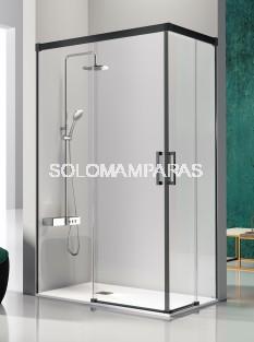 Mampara de ducha angular -Kassandra- Glase (GS607+GS607) (2 fijas + 2 correderas) con perfileria negra (antical Easy Clean)