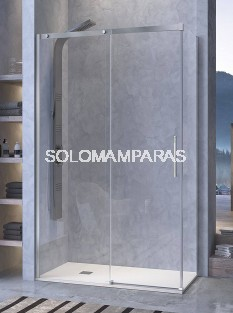Mampara de ducha -Kassandra- Luna (LU102+LU103) 1 fija + 1 corredera + lateral fijo, 8 mm (antical)