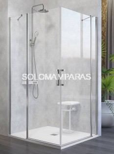 Mampara de ducha angular -Kassandra- Nardi (NA505) (2 fijas + 2 abatibles) Transparente (Antical Easy Clean)