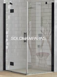 Angular de ducha Rabak (1 fijo continuo + 1 puerta abatible + 1 lateral fijo) 6 mm con perfileria negra