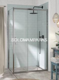 Mampara de ducha - Kassandra- Kaarol (KA101+Ka103) (1 fija + 2 correderas + 1 lateral fijo) 6 mm (antical Easy Clean)