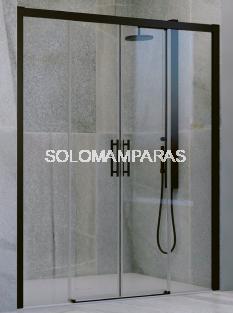 Mampara frontal de ducha Lambro 2 fijas + 2 correderas, 6 mm con perfileria negra