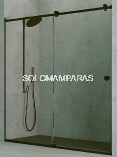 Mampara de ducha Oder (1 fija + 1 corredera) Acero Pulido y vidrio 8 mm con perfileria negra