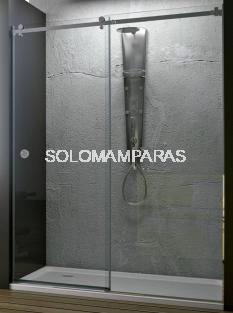 Mampara de ducha Oder (1 fija + 1 corredera) Acero Pulido y vidrio 8 mm