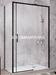 Mampara de ducha -Kassandra- Masela (MS102 + MS103) (1 fija + 1 corredera + 1 lateral fijo) 6mm con perfileria negra (antical)