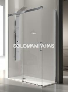 Mampara de ducha -Kassandra- Glase (GS102 + GS103) (1 fija + 1 corredera) + 1 lateral fijo, 8 mm con perfileria plata alto brillo (antical)