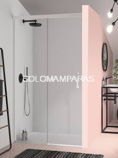 Mampara de ducha -Kassandra- Glase (GS102) (1 fija + 1 corredera) 6 mm con perfileria blanca (antical Easy Clean)