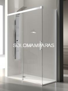 Mampara de ducha -Kassandra- Glase (GS102 + GS103) (1 fija + 1 corredera + 1 lateral fijo) 8 mm con perfileria blanca (antical)