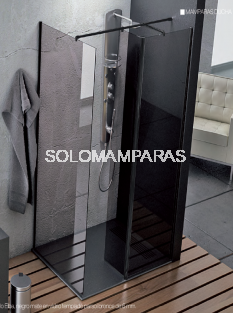 Mampara de ducha Elba (1 frontal fijo + 1 fijo interior + 1 lateral fijo) 6 mm con perfileria negra
