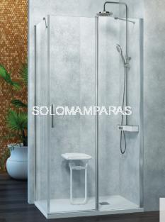 Mampara de ducha -Kassandra- Nardi (NA508) (fijo frontal + puerta abatible + lateral fijo) Transparente (Antical Easy Clean)