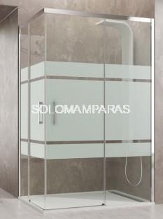Mampara de ducha angular Aktual -GME- (2 fijas + 2 correderas) frost plus y antical
