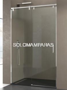 Mampara de ducha Futura -GME- (1 fija + 1 corredera) acero inox y antical