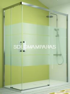 Mampara de ducha angular -Kassandra- serie 400 (CU607+CU607) apertura al vértice serigrafía Clio (Antical Easy Clean)