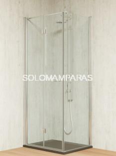 Mampara de ducha plegable Tarim -Hidroglass- (2 plegables) + 1 lateral fijo  6 mm