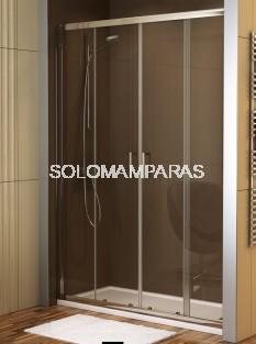 Mampara de ducha Niza (2 fijas + 2 correderas) transparente antical incluido