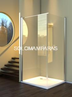 Mampara frontal de ducha Maya (1 puerta abatible + 1 lateral fijo) 6mm