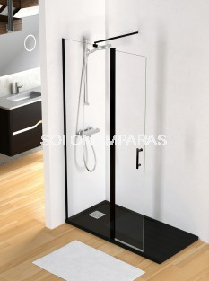 Mampara de ducha Milán -Torvisco- (1fijo + abatible) con perfil negro y sin cierre antical incluido
