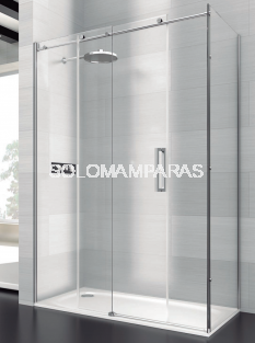 Mampara de ducha Saina -Deyban- 1 fijo + 1 corredera + 1 lateral fijo (acero inoxidable) con antical
